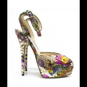 Jimmy Choo Lola Peep Toe Floral Python 38